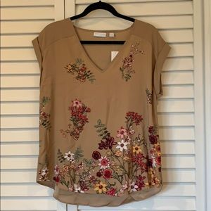 NWT Floral Border V Neck Top from NY&Co
